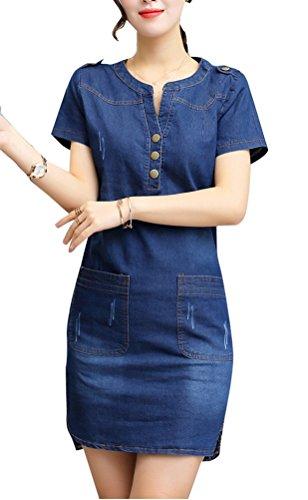 5 ALL Damen Sommer Blusenkleid Beiläufige Denim Kurze Ärmel V-Ausschnitt Umlegekragen Schlank Jeanskleid Minikleid Hemdkleid AbendKleid PartyKleid DunkelBlau L