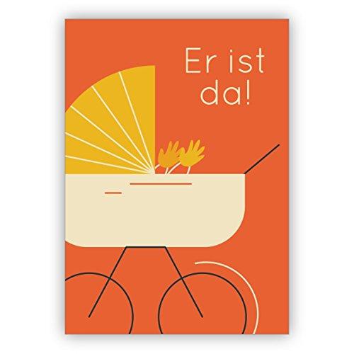 """10 Stck Coole orange Retro Baby Glckwunschkarte zur Geburt eines Jungen mit Vintage Kinderwagen: Er ist da! sch""""ne Willkommens Gruákarte zur Geburt fr Mutter und Kind"""