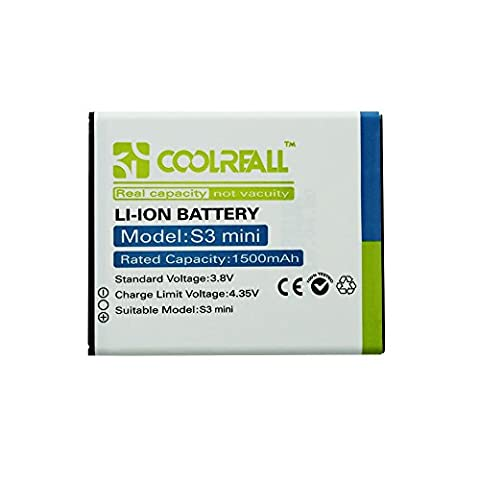 Ersatzakku Samsung Galaxy S3 mini, Coolreall 1500mAh Batterie Power Akku für Samsung Galaxy S3 mini GT-I8190 i8190 / Ace 2 / GT-I8160 / S Duos S7562 (mit FNC)
