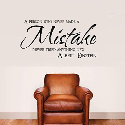Dalxsh Büro Aufkleber Motivation Zitate Wandaufkleber Albert Einstein Inspirierend Zitat Person Made Fehler Wandtattoos Schlafzimmer Dekor 57x30 cm