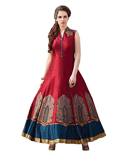 1 Stop Fashion Red Colour Banglori Silk With Heavy Embroidery Work Semi-Stitched Anarkali Suit  available at amazon for Rs.1174