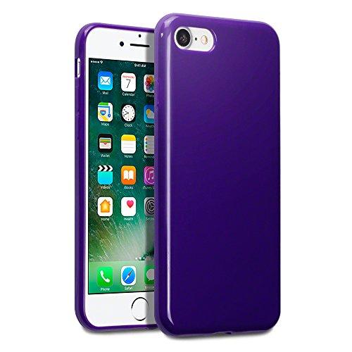 Terrapin TPU Gel Custodia per iPhone 8 / iPhone 7 Cover, Colore: Nero Porpora