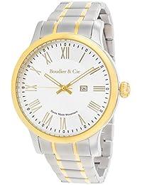 Boudier & Cie BSSM209 - Reloj de Cuarzo Analogico con movimiento Suizo para hombre, Esfera blanca, Carcasa dorada, Correa plateada