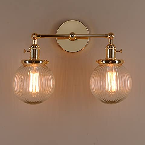 Pathson Industrial Modern Vintage Double Sconce Wall Lights, Loft Bar Kitchen Wall Lamp Fixture with Ribbed Globe Clear Glass Light Shade (Gold)