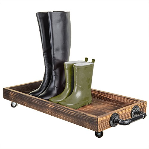MyGift 30 Rustikale Holz Rolling Boot-Tablett mit Metall Rohr Griffe -