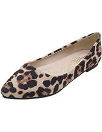 Huatime Scarpe da Donna Ballerine - Piatto Stampa Leopardata Pelle  Scamosciata Punta a Punta Pompe Morbido cb2e1a26d75