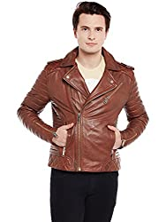 Bareskin Dark Tan Quilted Biker Leather Jacket