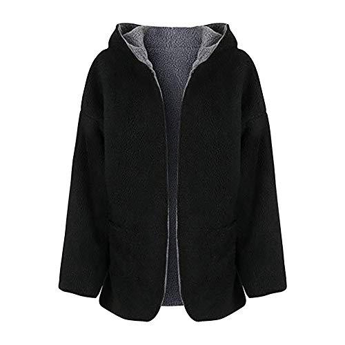 MIRRAY Damen Mäntel Lässige Fleece Fuzzy Faux Shearling Warme Winter Oversize Kapuzenmantel