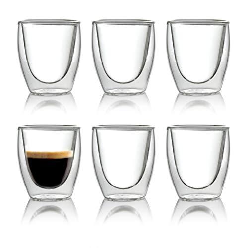 Caffé Italia Torino 6 x 60 ml Doppelwand-Thermo-Gläser - für Espresso Tee Heiß- und Kaltgetränke - spülmaschinengeeignet -