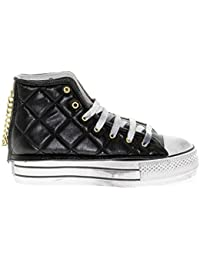 HAPPINESS Hi Top Sneakers Donna 1714BLACK Pelle Nero 5c5db8daab4