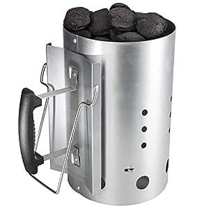 GFTIME Arrancador de Chimenea con Mango de Seguridad para Weber 7416, Columna de combustión de Encendedor de carbón de 30 x19 cm Barbacoa de Inicio rápido para Acampar y Asar a la Parrilla.
