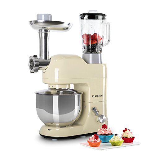 Klarstein Lucia Rossa - robot da cucina, mixer, impastatrice, 1200 W, 5 L, sistema planetario, tritacarne, ganci per pasta, shaker da 1,5 L, velocità regolabile, panna