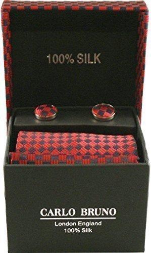 Carlo Bruno Seide Krawatten - 3 Teile Satz Manschettenknöpfe, Krawatte & Taschentuch (Muster) - Rot/Schwarzer Diamant, Standard, Standard (Diamant-muster-krawatte)
