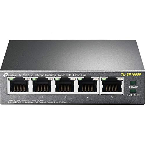 TP-Link TL-SF1005P 5-Port Fast Ethernet PoE Switch (5 Anschlüsse mit 10/100Mbit/s, 4 davon mit PoE-Unterstützung, 58 Watt, geschirmte RJ-45 Ports, Plug-and-Play Installation, lüfterlos) schwarz