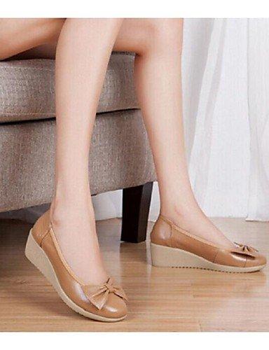 WSS 2016 Chaussures Femme-Habillé / Décontracté-Bleu / Marron / Rose-Talon Compensé-Compensées / Bout Arrondi-Talons-Cuir pink-us6.5-7 / eu37 / uk4.5-5 / cn37
