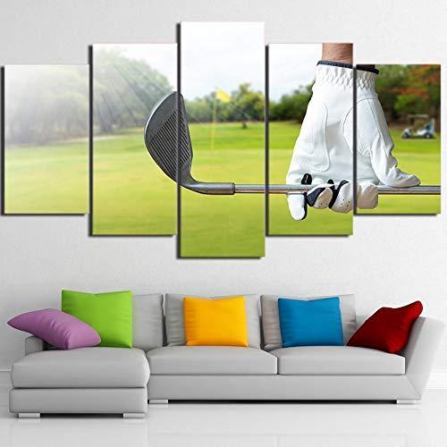 kuanmais Impresiones sobre Lienzo 5 HD Impreso Piezas Arte Club de Golf Pintura Enmarcado Modular Golf Golf Guantes Fotos de Pared, 12 × 16/24/32 Pulgadas (con Marco)