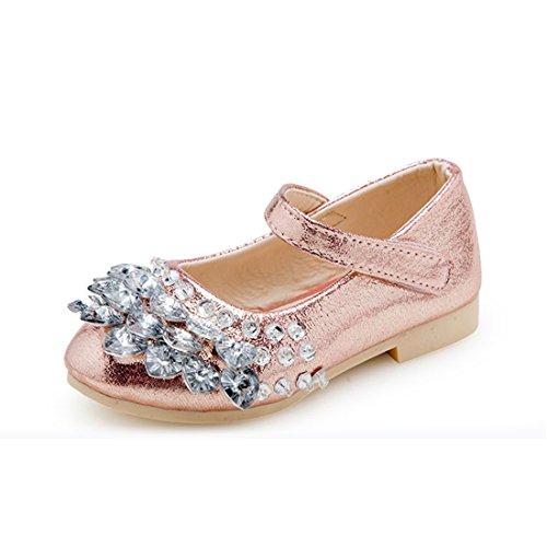 O&N Prinzessin Gelee Partei Absatz-Schuhe Sandalette Stäckelschuhe mit Kunstdiamantu für Kinder Rosa