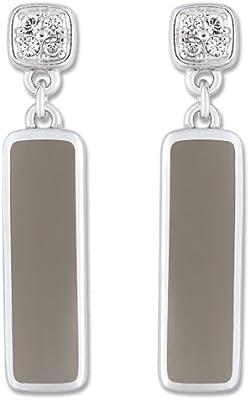 Bijoux pour tous - Pendientes de plata de ley con oxido de circonio con cierre de mariposa a presión