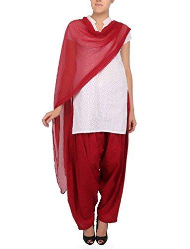 Womens Cottage Women's Maroon Pure Cotton Jacquard Semi Patiala Salwar & Chiffon Dupatta Stole Set with Lace