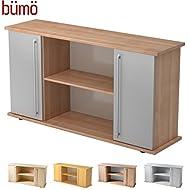 Bümö® Büro Sideboard | Aktenregal mit Stauraum für Ordner, Bücher und Material | Büromöbel | in 14 Dekoren (Nussbaum/Silber)