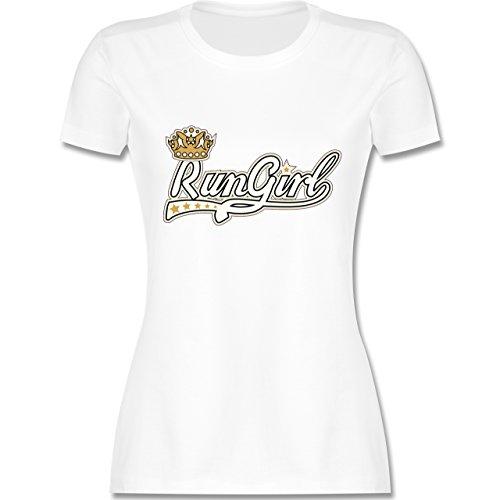 Laufsport - Run Girl - tailliertes Premium T-Shirt mit Rundhalsausschnitt für Damen Weiß
