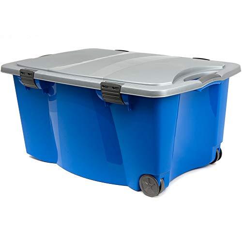 Aufbewahrungsbox Kunststoffbox Spielzeugbox Kiste Box | mit verschließbarer Deckel | 2 Rollen | 2 Handgriffe | 80 x 52 x 41cm | blau/silber