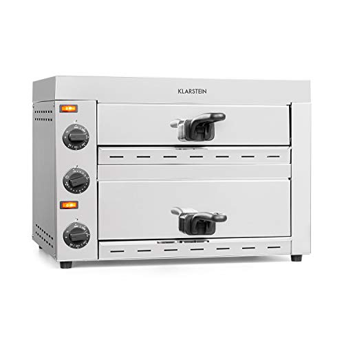 Klarstein Vesuvio II Pro horno para pizzas - 2260 W, 2 cámaras, superficie de horneado de 360 x 330...