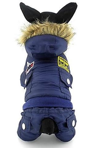 Ranphy Petit Chien en velours Vêtements Airman Polaire Manteau d'hiver à capuche Combinaison étanche tout Coque Body