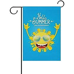 "hdgfjhdfjdf Hello Summer Sun Welcome Garden Flag House Flag Yard Banner for Outside Flower Pot Double Side Print 12"" x 18"""
