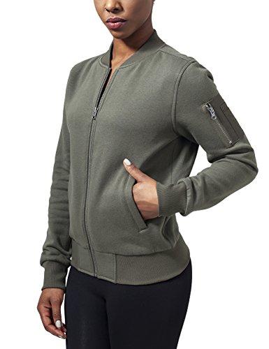 Urban Classics Damen Jacke Ladies Sweat Bomber Jacket, Grün (Olive 176), 42 (Herstellergröße: XL)
