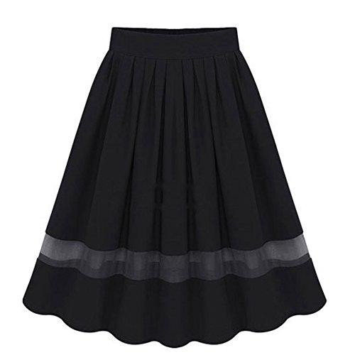 Minetom Las Mujeres De Faldas Cintura Alta Falda Gasa Empalme Globo Mini Vestido de Cóctel Negro