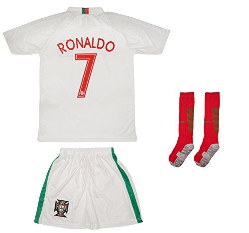 ATB Portugal 18/19 Kinder Trikot und Hose mit Socken - Ronaldo und namenloses Trikot (140, Ronaldo (Auswärts))