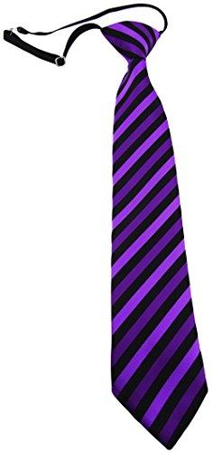 TigerTie Kinderkrawatte lila schwarz gestreift - Krawatte vorgebunden mit Gummizug (Krawatten Lila Gestreift)