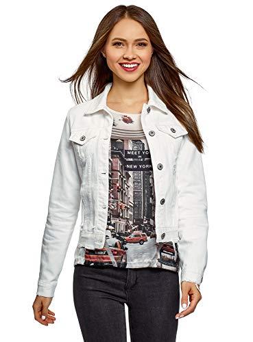 oodji Ultra Damen Kurze Jeans-Jacke mit Rissen, Weiß, DE 36 / EU 38 / S -