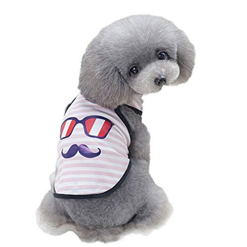 YWLINK Pet Tank Streifen Brille Schnurrbart Karikatur Drucken Weste FrüHling Und Sommer Haustier Hund Kleidung Weste(XXL,Rosa)