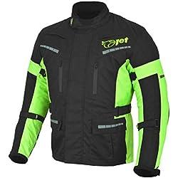 JET Chaqueta Moto Hombre Textil Impermeable con Armadura Gris Plateado (Negro Fluro, S)