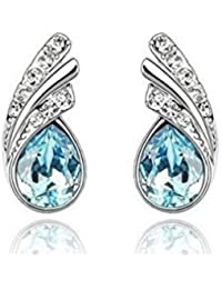 Glitz Crystal Collection Blue Crystal Leaf Alloy Stud Earrings For Women