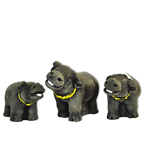 3 Büffel Set massiv Glücksbringer Dekoration Gartenfigur Skulptur