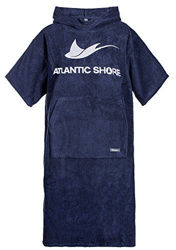 Atlantic Shore | Surf Poncho ➤ Bademantel / Umziehhilfe aus hochwertiger Baumwolle ➤ Navy Blue - Long