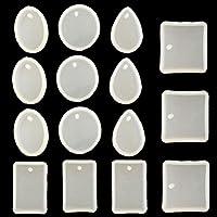 SevenMy - Molde de Silicona para Colgantes de Resina con Agujero para Colgar, 15 Piezas