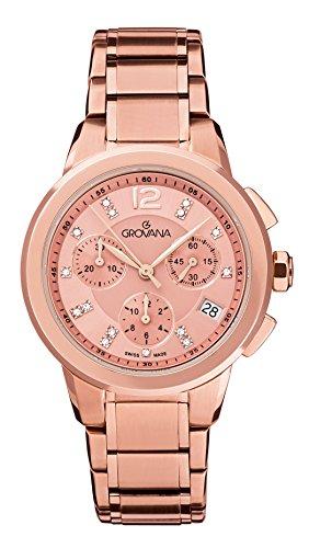 Grovana-Orologio Unisex al quarzo con Display con cronografo e in acciaio INOX placcato in oro rosa, 5094,9266