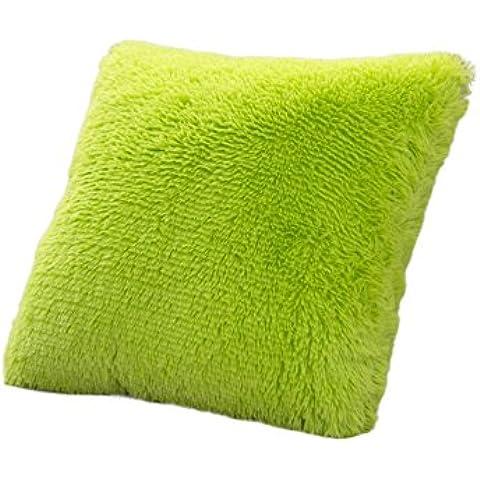 EXIU Lavabile cuscino morbido peluche lunga Zipper blocco solido federa 17*17