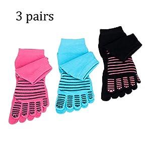 FULLANT Yoga Socken Damen Baumwolle Rutschfeste Zehensocken für Pilates, Barre, Ballett, Tanz, 3 Paar