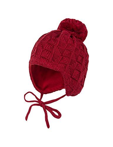 maximo Mütze, Ausgenäht, Struktur, Bommel, Bindeband, Cappellopello Bambina, Rosso (Richelieu 6), 49 cm