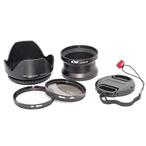 Kit d'accessoires (Adaptateur, Filtre UV, Filtre Polarisant, Bouchon, Paresoleil) pour Panasonic Lumix DMC-LX5.