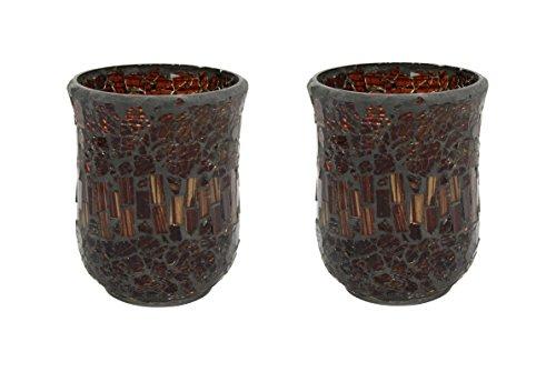 2 Stk. Mosaik Kerzen Glas groß dunkel - Mosaik Dunkel