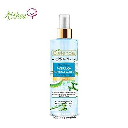 Bielenda Hydra Care Kokosnuss und Aloe- Spray für Gesicht und Körper,  für trockene und dehydrierte Haut 200ml -