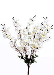 VCK Artificial Peach Blossom Flower Bunch (9 Stems, White, 45cm)