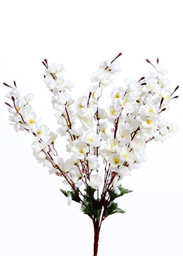 VCK Artificial Peach Blossom Flower Bunch (9 Stems, White, 45cm)