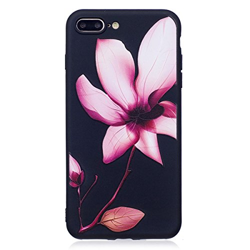 Coque iPhone 7 Plus, iPhone 7 Plus Coque en Silicone, SainCat Ultra Slim TPU Silicone Case Cover pour iPhone 7 Plus, Silicone 3D Conception Coque Anti-Scratch Soft Gel Cover Coque Caoutchouc Fleur Tra Lotus